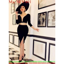 Sét áo tay dài xẻ cổ V phối chân váy xẻ đùi SEV401