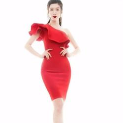 Đầm dạ tiệc đỏ chéo vai
