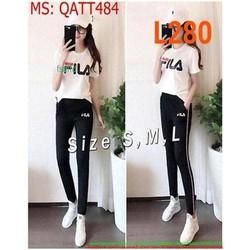 Bộ thể thao nữ phối quần dài FILA thời trang QATT484