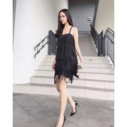 HANG THIET KE-Đầm 2 dây đen tua ruathiết kế đơn giản cá tính