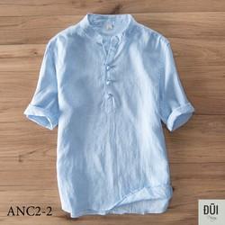 Áo đũi nam chui cúc tết xanh M2