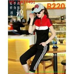 Bộ thể thao nữ áo cổ trụ kéo khóa phối quần dài sọc màu QATT491