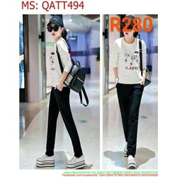 Bộ thể thao nữ áo dài tay hoa tiết xinh xắn phối quần dài QATT494