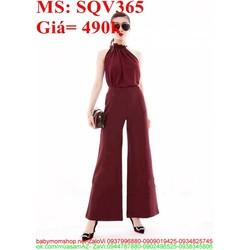 Sét áo kiểu cổ yếm phối quần ống loe sành điệu sang trọng SQV365