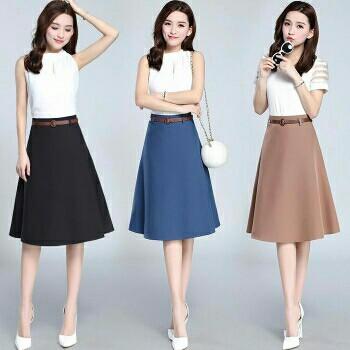 Đầm liền dáng xòe họa tiết hay chân váy màu sắc nơi công sở - 10
