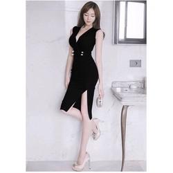 Đầm ôm body xẻ tà cổ V cực sang DON3020