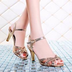 Giày cao gót nữ quai chéo lưới đính đá - LN1372
