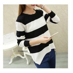 Áo len sọc trắng đen tay dài hàng nhập! - MS: S120935 Gs 135K