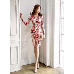 Đầm ôm thun hoa cổ V DON2625 - Hàng nhập loại 1