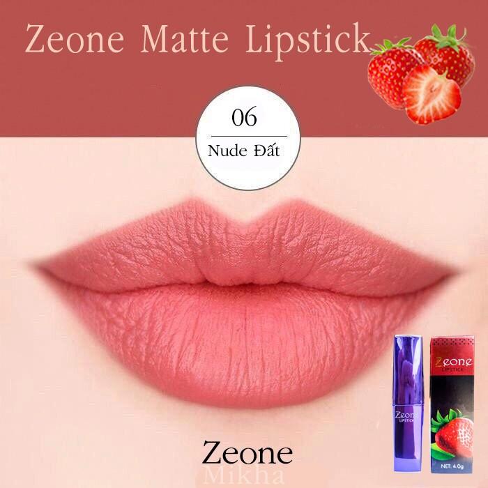 Son ZEONE Tím - ZEONE Matte Lipstick - Màu 06 Nude Đất 2