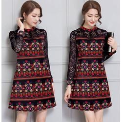 Đầm suông họa tiết tay phối ren cao cấp