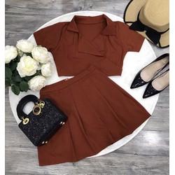Set áo vest croprop + chân váy xoè