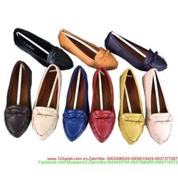 Giày mọi nữ công sở mũi nhọn thắt nơ đơn giản sang trọng