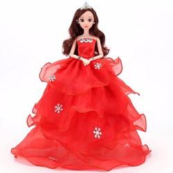 Búp Bê Váy Đỏ Đính Đá + Tặng Bộ Phụ Kiện Búp Bê 08 Món