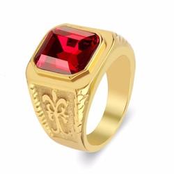 Nhẫn inox nam thời trang màu vàng đá đỏ mẫu N583