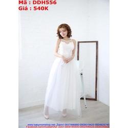 Đầm cô dâu trắng thiết kế cổ yếm chất liệu ren cao cấp DDH556