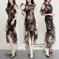 Đầm Hoa Bèo Voan Rớt Vai Đẹp Y Hình