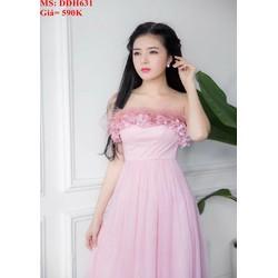 Đầm dự tiệc cúp ngực phối ren hoa màu hồng dễ thương DDH631