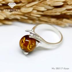 Nhẫn Nữ Đá Mắt Hổ Vàng Khắc Kinh Phật Theo Phong Thủy Bảo Tín