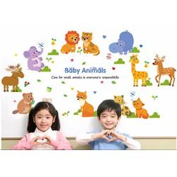 Decal dán tường Vườn thú baby animals cho bé