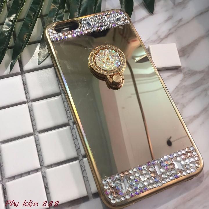 Ốp lưng Iphone 7 plus tráng gương kèm đá 3