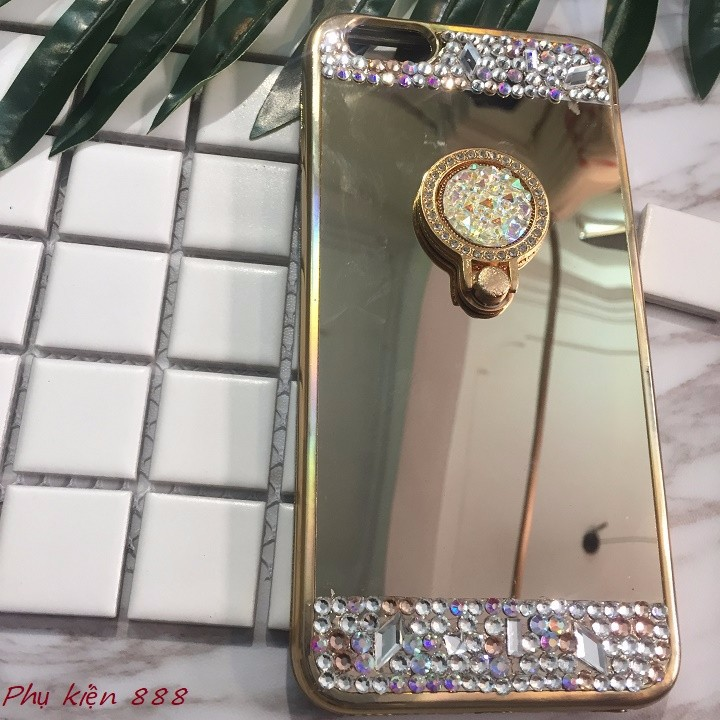 Ốp lưng Iphone 7 plus tráng gương kèm đá 7