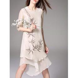 Đầm suông 2 tà hoạ tiết lá