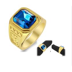 Nhẫn inox nam thời trang Mẫu vàng đá xanh dương đẹp giá rẻ