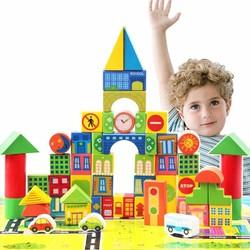 Bộ đồ chơi xếp hình lâu đài bằng gỗ 62 chi tiết