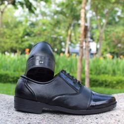 Giày Tây Nam SQ Đen [Tặng Tất SQ Xanh Lá]