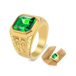 Nhẫn inox nam thời trang mẫu vàng đá xanh lá đẹp giá rẻ