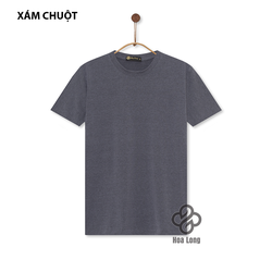 Áo Thun Nam, Nữ Cotton Co Giãn 4 Chiều Cổ Tròn Xám Chuột
