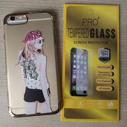 Ốp lưng iPhone 7 đính đá kèm kính cường lực