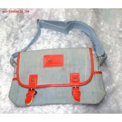 Túi đeo đi học đi chơi vải jean phối khóa gài bụi