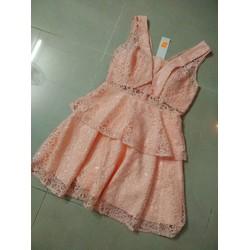 Đầm xòe cổ vest 2 tầng màu cam sữa