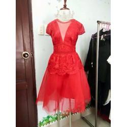 Đầm xòe công chúa peplum màu đỏ