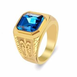 Nhẫn inox nam thời trang màu vàng đá xanh dương mẫu N581