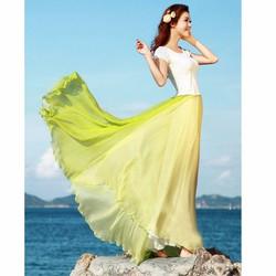 váy bohemieng phối màu Mã: VN590 - XANH