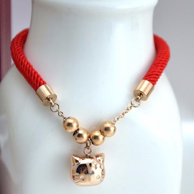 Lắc Tay Dây Đỏ Mèo May Mắn Ti Tan Ko Đen TT 0733 1