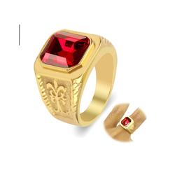 Nhẫn inox nam thời trang mẫu vàng đá đỏ giá rẻ đẹp