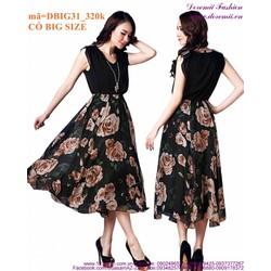 Đầm maxi voan chân váy hoa vai đính cườm sang trọng iDBIG31