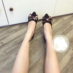 Giày búp bê mũi nơ vải