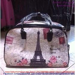 Túi cần kéo du lịch tháp Eiffel hình bản đồ