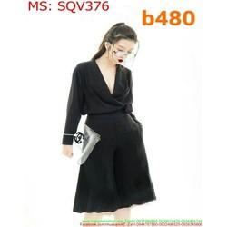 Sét áo kiểu dài tay cổ V phối quần lửng rộng sành điệu SQV376
