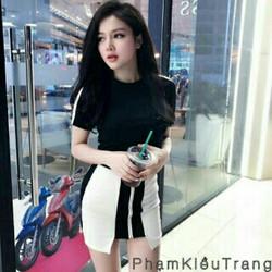 Set áo đen váy trắng viền dây kéo
