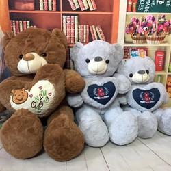 Gấu bông gấu ôm tim love you, only peace, gấu đỏ 60cm