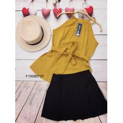 Set áo yếm cột eo chân váy đập ly hàng thiết kế- MS: S150981 Gs 170K