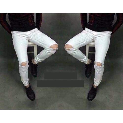 Quần jean nam skinny trắng rách gối new style - 16908027 , 7010820 , 15_7010820 , 320000 , Quan-jean-nam-skinny-trang-rach-goi-new-style-15_7010820 , sendo.vn , Quần jean nam skinny trắng rách gối new style