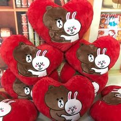 Thú bông gấu bông hình trái tim brown và conny 35cm