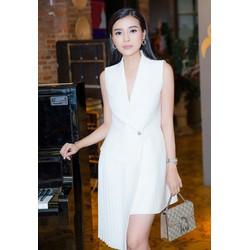 Chuyên sỉ - Đầm vest trắng ôm body khoét ngực sâu sang trọng